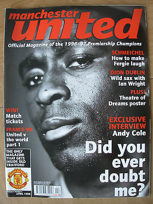 MANCHESTER UNITED OFFICIAL MAGAZINE VOL 6 No 4 APRIL 1998
