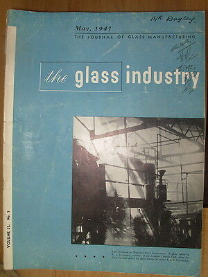 The Glass Industry Vintage Magazine May 1941 Journal Of Glass Manufacturing