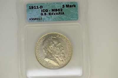 German States- Bavaria: 1911-D 3 Mark- ICG MS-62.  Attractive coin.