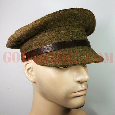 WWI British Army Soft Visor Brown Wool Trench Cap 57