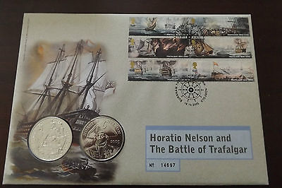 GB QEII FDC PNC COIN COVER 2005 BATTLE OF TRAFALGAR NELSON £5 Coin X2 B/UNC