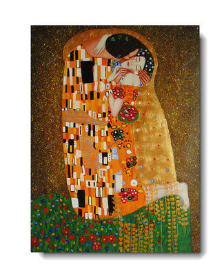 Gustav Klimt The Kiss Oil Painting Hand-Painted Reproduction on Canvas Art 30x40