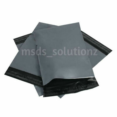 """100 Strong Sticky 15x18"""" Grey Mailing Bags Plastic Poly Postal Postage Bag Pouch"""