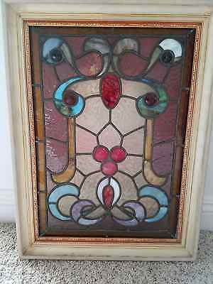 ANTIQUE UTAH CHURCH STAINED GLASS WINDOW FRAMED (reduced!)