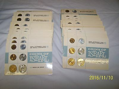 * 60 SETS * Coins of Israel -1965 Proof-Like Issues Set of 6 Coins on Card - N/R