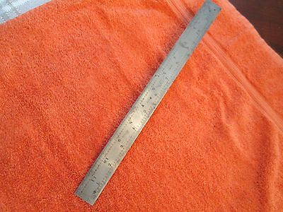 STARRETT No. 604R 12 Inch Spring Tempered Steel Rule With Inch 4R Graduations.