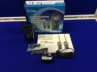 New Waterproof Icom Ic-M25 Euro Marine Vhf Radio Metallic Gray Float'n Flash