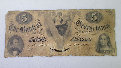 $5 The Bank of Georgetown, SOUTH CAROLINA OBSOLETE Note - AF26