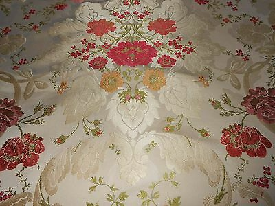 6y ANTIQUE style FRENCH silky lampas fabric floral Design Roses red pink gold