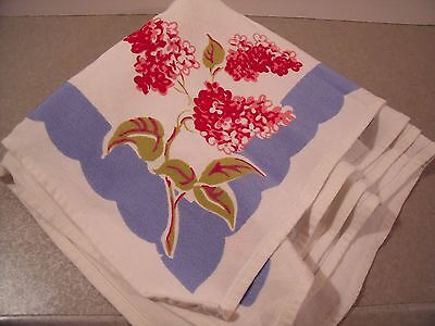 """2 vintage 15"""" cotton napkins white blue with red pink berries 1950's"""