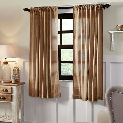 """Burlap Natural Tan Rustic Country Window Curtains Matching Tie Backs 63"""" L New"""