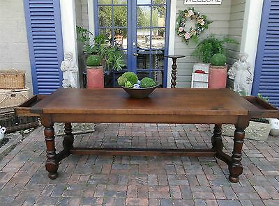 Antique French Country Farm Dining Table Provence Drawers  Walnut Turned Legs