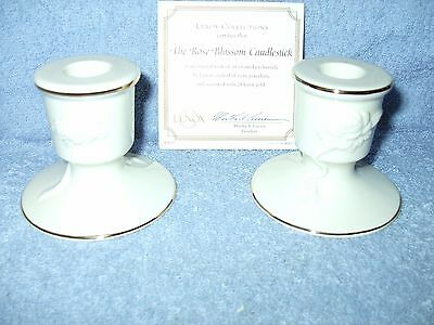 PAIR OF LENOX EMBOSSED ROSES BLOSSOM CANDLE HOLDERS and BOWL NEW