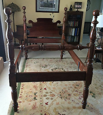 Early American 1800's Antique Solid Cherry Twin Size Four Poster Cannonball Bed