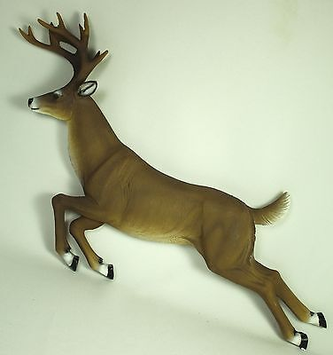 LEAPING WHITE TAIL DEER WALL PLAQUE Figurine NEW Buck Elk Doe Wildlife Resin