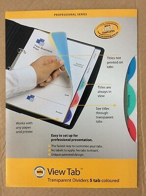 Marbig View Tab - A4 Transparent Dividers 37835 - 5 Coloured Tabs - 3 PACKS
