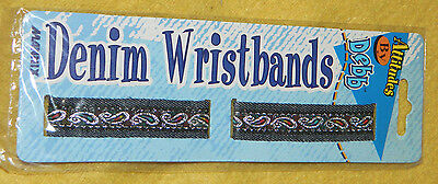 """NEW Youth Girls Awesome Denim Wristbands by Mannix / 7.5"""" Length / 1 Set"""