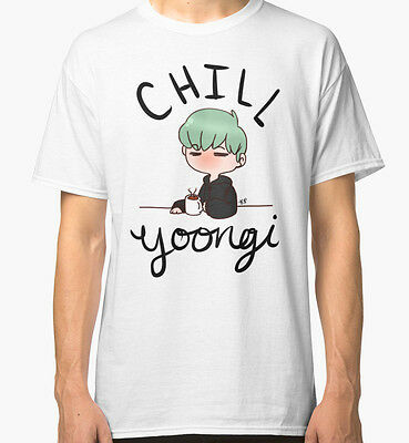 Chill Min Yoongi Men's White Tees Tshirt S - 3XL