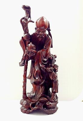 Large 12 Antique Chinese Wood Carving Shou Lao God Of Longevity Sculpture Statue