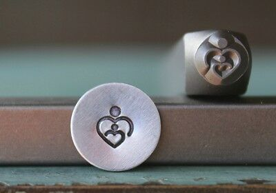 SUPPLY GUY 6mm Mother Baby Heart Metal Punch Design Stamp SGCH-148
