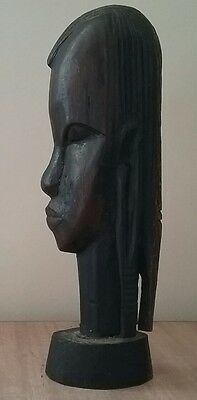 WOODEN HEAD vintage hand carved bust native ethnic statue ornament kitsch retro
