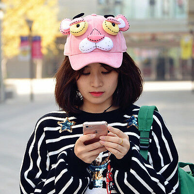 Pink Panther Stuffed Plush Doll Toy leopard Cap Travel Baseball Hat Cosplay 3D