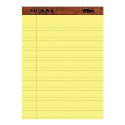 TOPS The Legal Pad Legal Pad, 8-1/2 x 11-3/4 Inches, Perforated, Canary, Legal/W