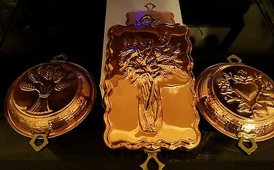 Vintage The Cooks Bazaar  Copper Mold Celery & round heart & wheat lot of 3
