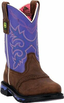 New John Deere JD2158 Kid's Purple Johnny Popper Wellington Boots