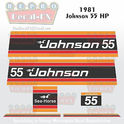 1999-00 Johnson 90 HP Fire Red Outboard Reproduction 4 Pc Marine Vinyl Decal