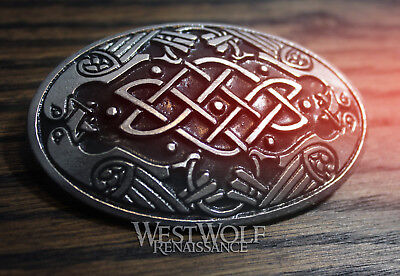 Large Domed Viking Odin's Ravens Brooch -- Norse/Celtic/Silver/Coat/Cloak Pin