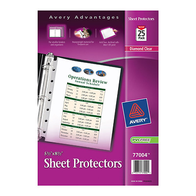 Avery Mini Heavyweight Sheet Protectors, 5.5 x 8.5 Inches, Pack of 25 (77004)