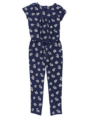 NWT Gymboree BEST IN SHOW Navy Blue Rose Print SS Rayon Pants Jumper Jumpsuit~10