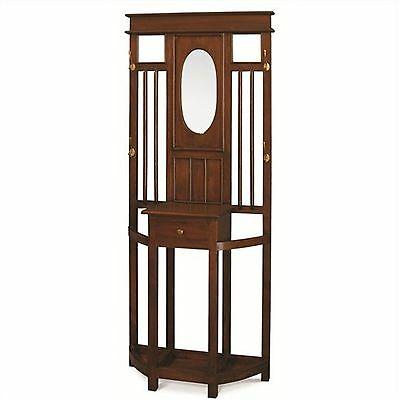 Tasimania Solid Mahogany Timber Hall Stand / Hat & Coat Rack  - mahogany colour
