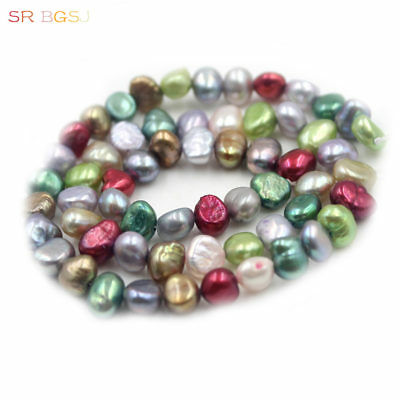 """Jewelry  Freefrom Potato Pearl Mixed Freshwater Pearl Beads Strand 15"""" 6-7mm"""