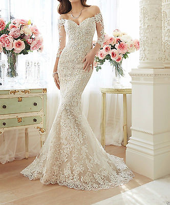 New Lace White/Ivory Wedding Dress Bridal Gown Custom Size 4 6 8 10 12 14 16 18+