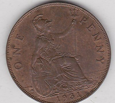 1931 George V Penny In Extremely Fine Condition
