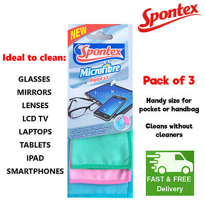 SPONTEX MICROFIBRE CLOTH for Cleaning Glass Mirrors Lenses LCD TV Laptops IPAD