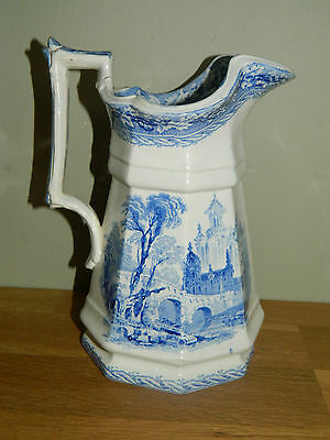 Antique 19th century English Staffordshire pottery jug blue and white transfer
