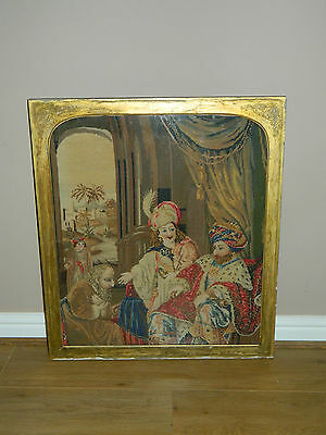 Antique large tapestry / embroidery / needlepoint of Persian king picture
