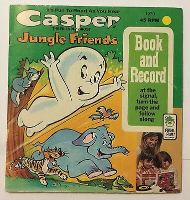 Casper The Friendly Ghost Jungle Friends Book and 45 RPM Record 1970