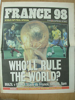 WORLD CUP FRANCE 98 - THE EXPRESS NEWSPAPER - WORLD CUP FINAL JULY 12th