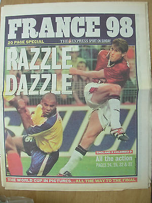 WORLD CUP FRANCE 98 - THE EXPRESS NEWSPAPER - WORLD CUP IN PICTURES JUNE 28th