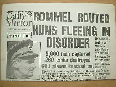 DAILY MIRROR WWII NEWSPAPER NOVEMBER 5th 1942 EIGHTH ARMY SMASHES ROMMEL