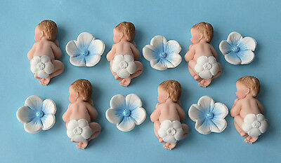 12 X edible baby ( Tiny ) & flowers  Baby shower cupcake topper with flower