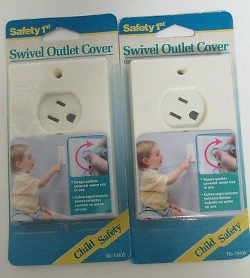 TWO (2) NEW Safety1st Swivel Outlet Cover (Almond) Electrical Sockets Baby Proof
