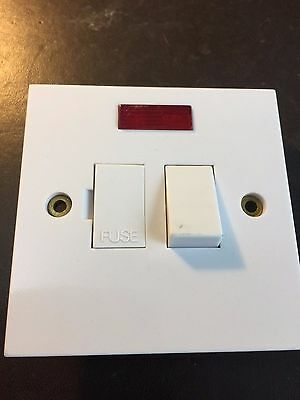 13A White Switch Plate Neon Light Fused & Flex Outlet Spur - appliances etc