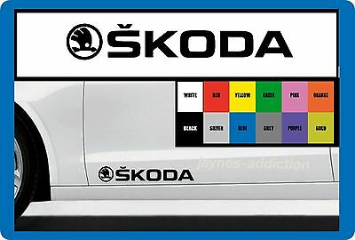 FOR SKODA - 2 x DOOR - SIDE SKIRT -  CAR DECAL STICKER ADHESIVE - 295mm long
