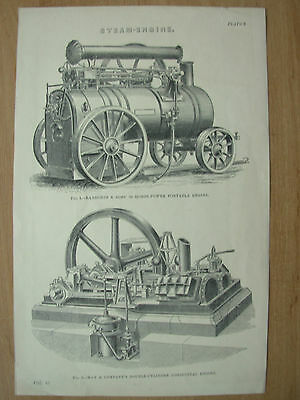 Antique 1880 Victorian Print Steam Engines Ransomes & Sims + May & Company