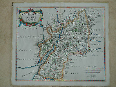 Antique 1690-1722 map of Gloucestershire by Robert Morden for Camden's Britannia